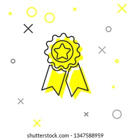 Grey Medal with star line icon isolated on white background. Winner achievement sign. Award medal. Vector Illustration
