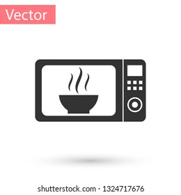 Grey Microwave oven icon isolated on white background. Home appliances icon.Vector Illustration