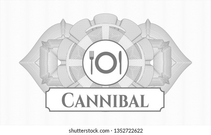 Grey money style emblem or rosette with restaurant icon and Cannibal text inside