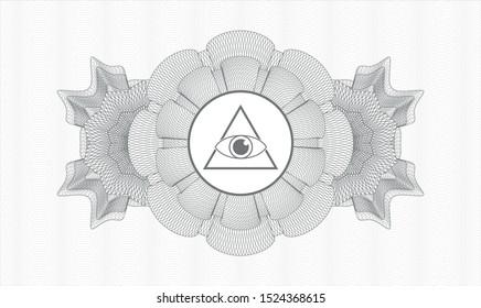 Grey money style emblem or rosette with illuminati pyramid icon inside