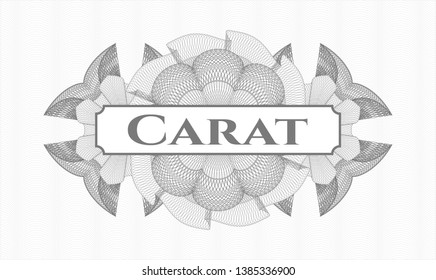 Grey money style rosette with text Carat inside