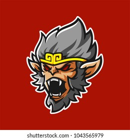 grey monkey king with angry face modern mascot logo template for sport/e-sport team