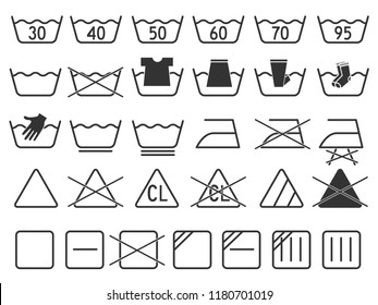grey monochrome simple laundry symbols round or curved style icons set element for garment industry flat vector design