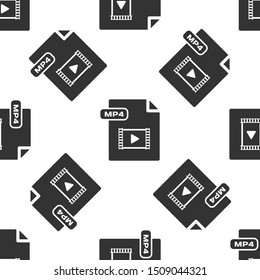 Grey MP4 file document. Download mp4 button icon isolated seamless pattern on white background. MP4 file symbol.  Vector Illustration