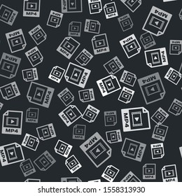 Grey MP4 file document. Download mp4 button icon isolated seamless pattern on black background. MP4 file symbol.  Vector Illustration