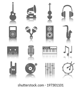 Grey music icons set with reflections