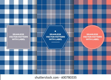 Grey, Navy and Coral Tartan and Gingham Plaid Seamless Patterns with Label Frame. Copy Space for Text. Set of Design Templates for Packaging, Covers or Gift Wrapping. Preppy Style Sports Fashion.