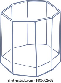 Grey octagon empty glass ink drawing illustration