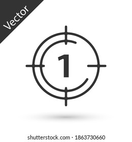 Grey Old film movie countdown frame icon isolated on white background. Vintage retro cinema timer count. Vector.