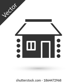 Grey Old Ukrainian house hut icon isolated on white background. Traditional village house. Vector.