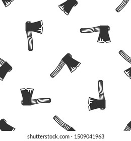 Grey Old wooden axe icon isolated seamless pattern on white background. Lumberjack axe.  Vector Illustration