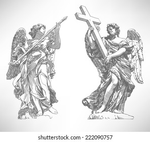 grey original sketch digital drawing of marble statue of two angels from the Sant'Angelo Bridge in Rome, Italy, vector illustration