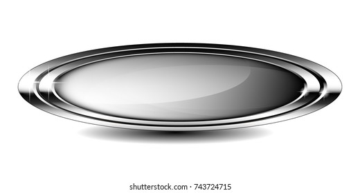 Grey oval background with a double silver frame, with space for your text. Vector illustration.