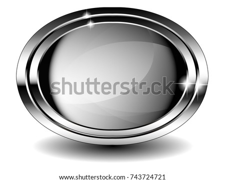 Grey Oval Background Double Silver Frame Stock Vector (Royalty Free ...