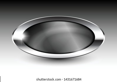 Grey oval background with a silver frame, with space for your text. Vector illustration