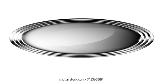 Grey oval background with a silver frame, with space for your text. Vector illustration.