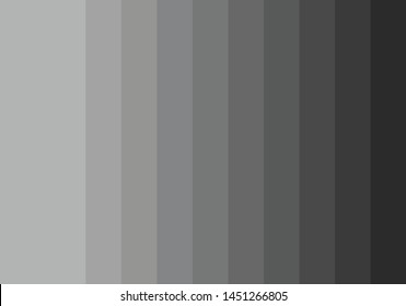 Grey palette. Dark to soft color coordination. Vector illustration of grey color. Abstract color for background. The color gray associated with meanings of dull, dirty, and dingy.