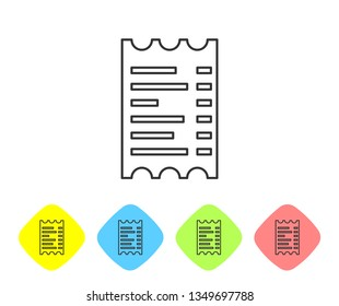 Grey Paper check and financial check line icon isolated on white background. Paper print check, shop receipt or bill. Set icon in color rhombus buttons. Vector Illustration