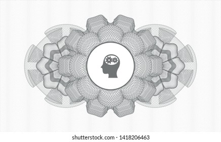Grey passport rosette with head with gears inside icon inside