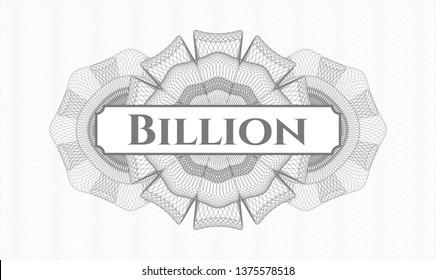 Grey passport rosette with text Billion inside