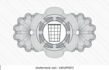 Grey passport style rosette with wastepaper basket icon inside