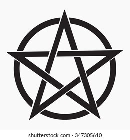 Grey pentagram vector icon. Isolated vector Illustration. Black on Gray background. EPS Illustration.
