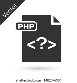 Grey PHP file document. Download php button icon isolated on white background. PHP file symbol.  Vector Illustration