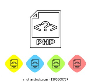 Grey PHP file document icon. Download php button line icon isolated on white background. PHP file symbol. Set icon in color rhombus buttons. Vector Illustration