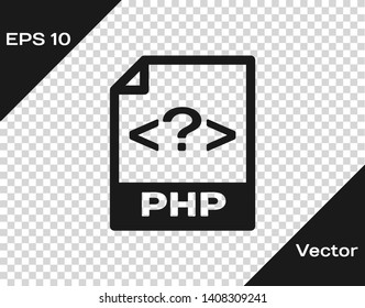 Grey PHP file document icon. Download php button icon isolated on transparent background. PHP file symbol. Vector Illustration