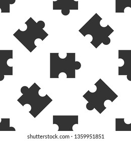 Grey Piece of puzzle icon isolated seamless pattern on white background. Modern flat, business, marketing, finance, internet concept. Vector Illustration