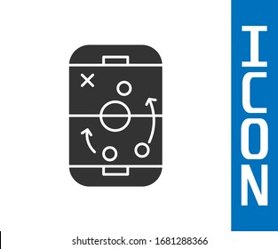 Grey Planning strategy concept icon isolated on white background. Hockey cup formation and tactic.  Vector Illustration