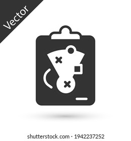 Grey Planning strategy concept icon isolated on white background. Baseball cup formation and tactic. Vector