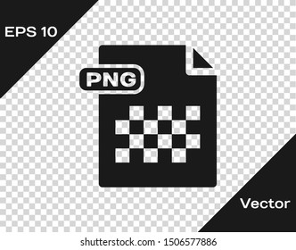 Grey PNG file document. Download png button icon isolated on transparent background. PNG file symbol.  Vector Illustration