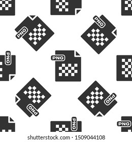Grey PNG file document. Download png button icon isolated seamless pattern on white background. PNG file symbol.  Vector Illustration