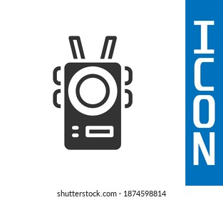 Grey Police body camera icon isolated on white background.  Vector
