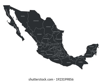 Grey political map of Mexico. Administrative divisions - states. Simple flat vector map with labels.