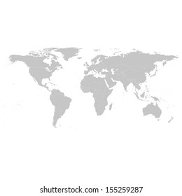 Grey Political World Map Illustration