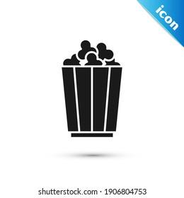 Grey Popcorn in cardboard box icon isolated on white background. Popcorn bucket box.  Vector