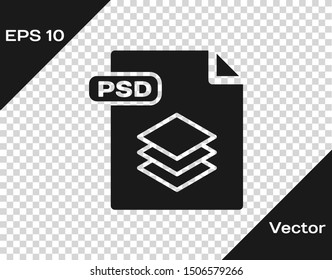 Grey PSD file document. Download psd button icon isolated on transparent background. PSD file symbol.  Vector Illustration