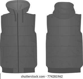 Grey puffer vest. vector illustration
