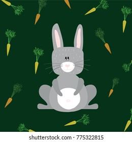Grey rabbit on green background with carrots. Funny cartoon character for children. Flat design.