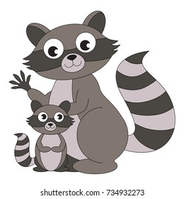 Grey Raccoon Mother and Child cartoon. Outlined illustration with thin line black stroke