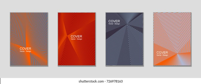 Grey and red halftone angles vector cover template with lines. Tech background, title places. Vector journal design covers geometric shape background set, halftone lines hipster pattern abstract set.