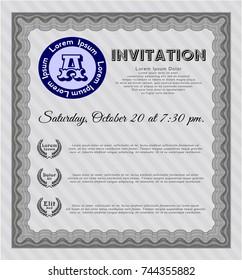 Grey Retro invitation template. Money Pattern. Vector illustration. Complex background.