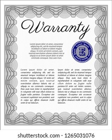 Grey Retro vintage Warranty Certificate. Nice design. Detailed. With quality background.