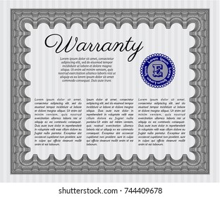 Grey Retro vintage Warranty Certificate. Money design. Detailed. With quality background.