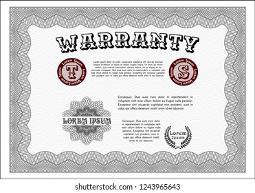 Grey Retro Warranty Certificate template. Perfect design. With linear background. Customizable, Easy to edit and change colors.