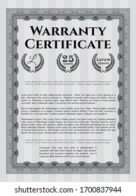 Grey Retro Warranty Certificate template. Detailed. Easy to print. Cordial design.