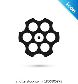 Grey Revolver cylinder icon isolated on white background.  Vector