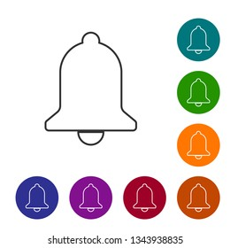 Grey Ringing bell line icon isolated on white background. Alarm symbol, service bell, handbell sign, notification symbol. Vector Illustration